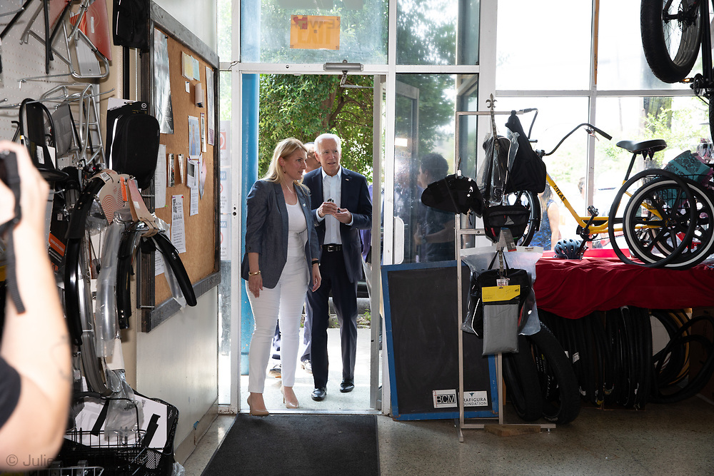 Former Vice-President Joe Biden now Democratic presidential candidate  with YEP Executive Director Melissa Sawyer, visiting the Youth Empowerment Project (YEP) in New Orleans, Louisiana on July 23, 2019.