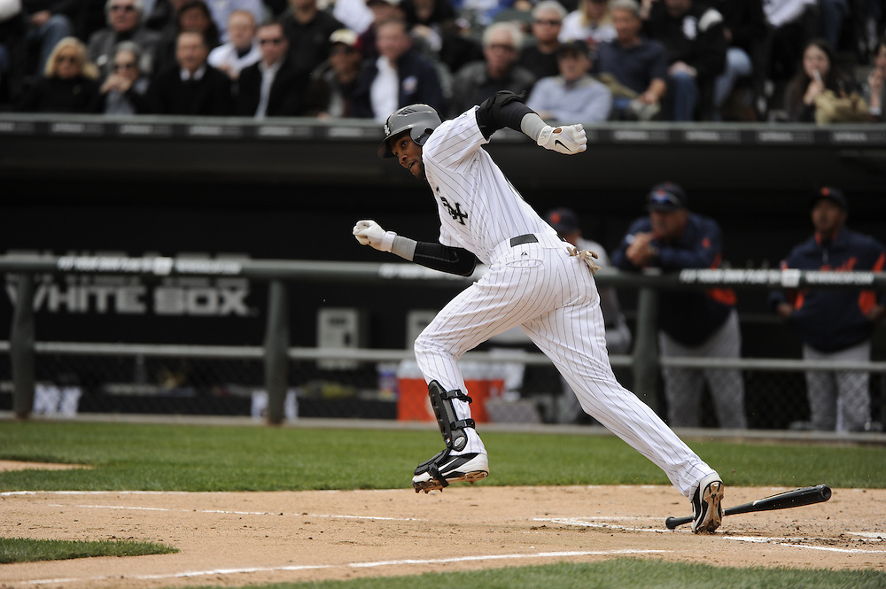 CHICAGO - APRIL 13:  Alexei Ramirez #10 of the Chicago White Sox bats against the Detroit Tigers on Opening Day, April 13, 2011 at U.S. Cellular Field in Chicago, Illinois.  The White Sox defeated the Tigers 5-2.  (Photo by Ron Vesely)   Subject:  Alexei Ramirez