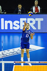 08.01.2016, Max Schmeling Halle, Berlin, GER, CEV Olympia Qualifikation, Frankreich vs Bulgarien, im Bild Aufschlag Pierre?Pujl (#13, Frankreich/France) // during 2016 CEV Volleyball European Olympic Qualification Match between France and Bulgaria at the  Max Schmeling Halle in Berlin, Germany on 2016/01/08. EXPA Pictures © 2016, PhotoCredit: EXPA/ Eibner-Pressefoto/ Wuechner<br /> <br /> *****ATTENTION - OUT of GER*****