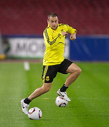 NAPELS, ITALY - Wednesday, October 20, 2010: Liverpool's Joe Cole during a training session ahead of the UEFA Europa League Group K match against SSC Napoli at the Stadio San Paolo. (Pic by: David Rawcliffe/Propaganda)