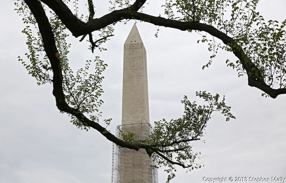 The Washington Monument which is currently under repair following the Virginia earthquake and Hurricane Irene in 2011 in Washington, DC on Monday, April 15, 2013.