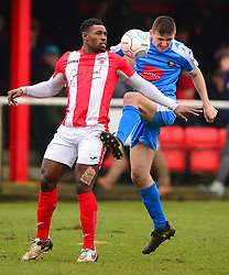 HARROGATE LIAM KITCHING HOLDS OF BRACKLEY LEE NDLOVU, Brackley Town v Harrogate Town Vanarama National League North, St James Park Good Friday 30th March 2018, Score 0-0.