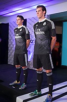 James Rodriguez and Gareth Bale during the presentation of the Real Madrid's new Champions League kit at the Santiago Bernabeu stadium in Madrid, Spain. May 26, 2013. (ALTERPHOTOS/Victor Blanco)