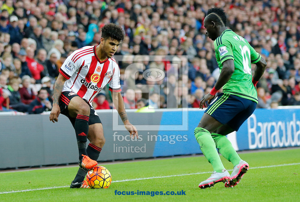 DeAndre Yedlin (l) of Sunderland and Sadio Mane of Southampton during the Barclays Premier League match at the Stadium Of Light, Sunderland<br /> Picture by Simon Moore/Focus Images Ltd 07807 671782<br /> 07/11/2015