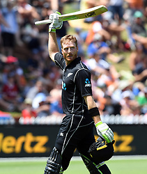 New Zealand's Martin Guptill acknowledges the crowd after being dimissed by Pakistan's Rumman Raees for 100 in the fifth one day International Cricket match, Basin Reserve, Wellington, New Zealand, Friday, January 19, 2018