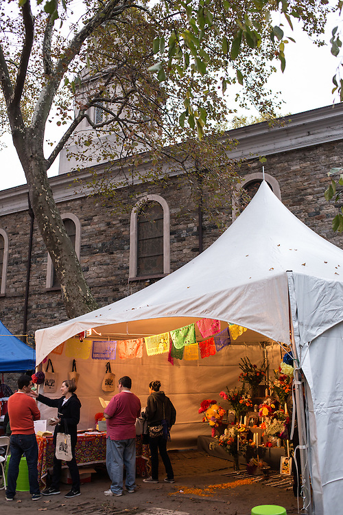 New York, NY, October 31, 2013. The tent with the public altar is in the churchyard of St. Mark's Church in-the-Bowery.