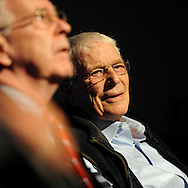 "Oct 4, 2012 - GARDEN CITY, NEW YORK U.S. - (L - R) NY State Senator KEMP HANNON and Mercury astronaut SCOTT CARPENTER are at thenew JetBlue Sky Theater Planetarium at Cradle of Aviation Museum. Nassau County students watched ""We Are Astronomers"" a digital planetarium show, and then asked Carpenter questions after he spoke. The planetarium, a state-of-the-art digital projection system, officially opens this weekend."
