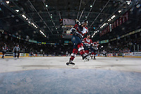 KELOWNA, CANADA - MARCH 22: Mitch Topping #25 of the Tri-City Americans shoots the puck into the empty net as the game buzzer sounds the Kelowna Rockets win on March 22, 2014 at Prospera Place in Kelowna, British Columbia, Canada.   (Photo by Marissa Baecker/Shoot the Breeze)  *** Local Caption *** Mitch Topping;