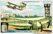 Various biplanes: Alberto Santos-Dumont's  'Demoiselle', a Maurice Farman biplane, and a semi-biplane by Jacob Ellehammer. Liebig Trade Card c1910. Aviation Aeronatics Flying Machine