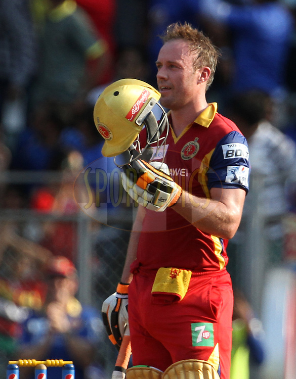 Royal Challengers Bangalore player AB De Villiers after scoring a hundredduring match 46 of the Pepsi IPL 2015 (Indian Premier League) between The Mumbai Indians and The Royal Challengers Bangalore held at the Wankhede Stadium in Mumbai, India on the 10th May 2015.<br /> <br /> Photo by:  Vipin Pawar / SPORTZPICS / IPL