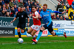Cian Bolger of Fleetwood Town makes a foul on Jon Taylor of Rotherham United - Mandatory by-line: Ryan Crockett/JMP - 07/04/2018 - FOOTBALL - Aesseal New York Stadium - Rotherham, England - Rotherham United v Fleetwood Town - Sky Bet League One