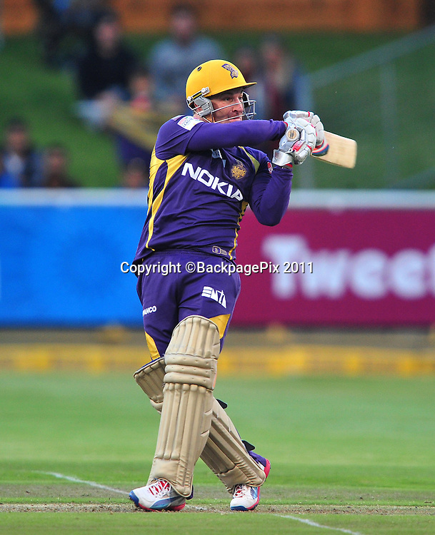 Brendon McCullum of the Kolkata Knight Riders during the 2012 Champions League Twenty20 cricket match between the Kolkata Knight Riders and the Auckland Aces at Newlands in Cape Town on 15 October 2012 ©Ryan Wilkisky/BackpagePix