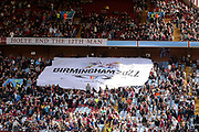 Birmingham commonwealth games banner in the Holte end during the EFL Sky Bet Championship match between Aston Villa and Norwich City at Villa Park, Birmingham, England on 19 August 2017. Photo by Dennis Goodwin.