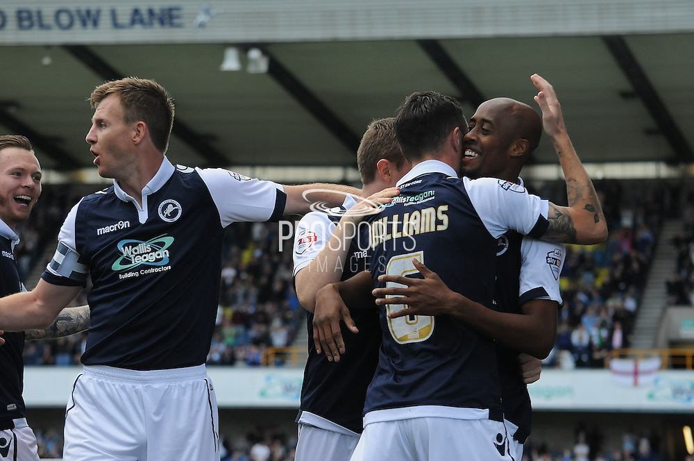 Jimmy Abdou is mobbed after giving Millwall the lead during the Sky Bet League 1 match between Millwall and Rochdale at The Den, London, England on 26 September 2015. Photo by Michael Hulf.