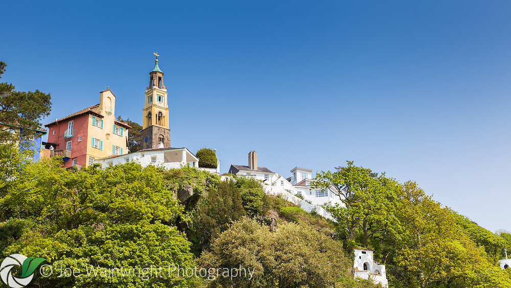 The Campanile and other Italianate buildings at Portmeirion, Gwynedd, North Wales.  Photographed in April.
