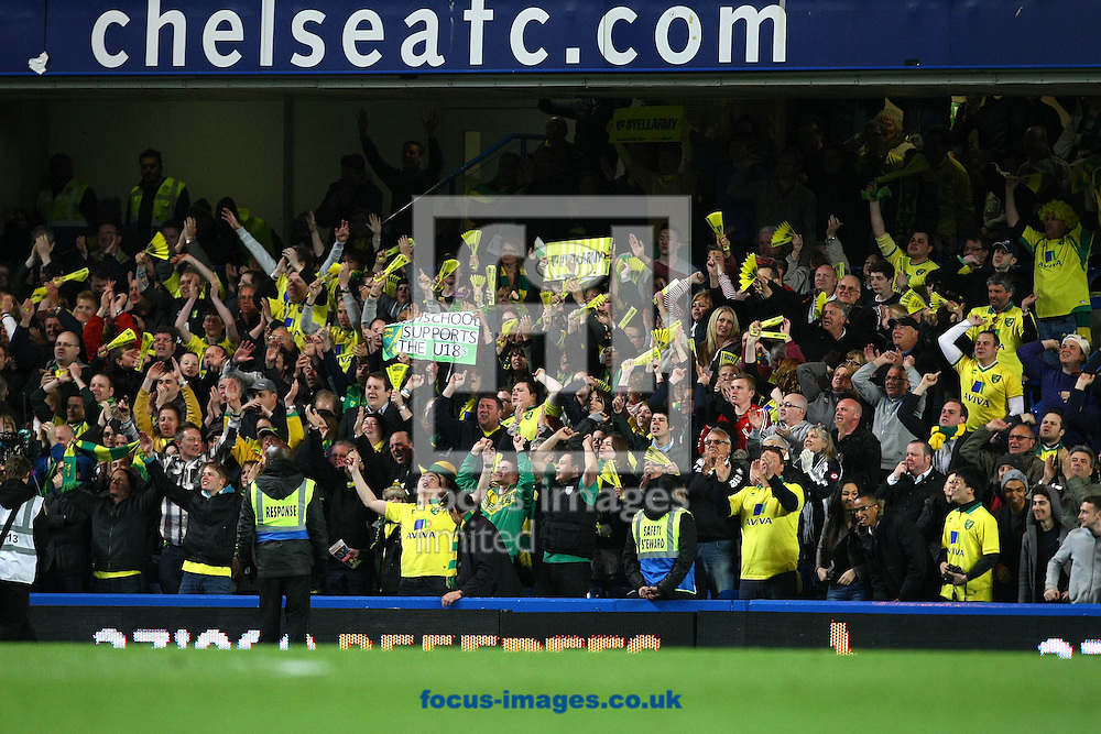 Picture by Paul Chesterton/Focus Images Ltd +44 7904 640267.13/05/2013.The Norwich fans celebrate their sides 3rd goal scored by Joshua Murphy of Norwich during the The FA Youth Cup Final second leg at Stamford Bridge, London.