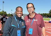 Jun 30, 2019; Stanford, CA, USA; Ato Boldon (TTO), left, and David Glassman (USA) pose  during the 45th Prefontaine Classic at Cobb Track & Angell Field.