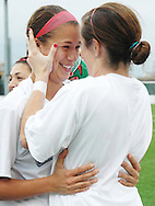 November 8, 2008- Boston University sophomores Corie Halasz (left) and Shuana Kelleher embrace after their team wins its second straight Women's Soccer America East Championship title over Stony Brook University at Nickerson Field in Boston, MA.