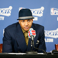 28 April 2013: New York Knicks small forward Carmelo Anthony (7) is seen during a press conference following the Boston Celtics 97-90 overtime victory over the New York Knicks during Game Four of the Eastern Conference Quarterfinals of the 2013 NBA Playoffs at the TD Garden, Boston, Massachusetts, USA.