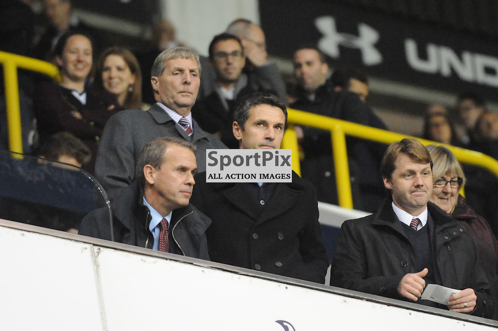 New Aston Villa Manager, Remi Garde, takes to the stand before his sides match against Tottenham, Tottenham v Aston Villa match in the Barclays Premier League on the 2nd November 2015