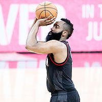 01 May 2017: Houston Rockets guard James Harden (13) takes a jump shot during the Houston Rockets 126-99 victory over the San Antonio Spurs, in game 1 of the Western Conference Semi Finals, at the AT&T Center, San Antonio, Texas, USA.