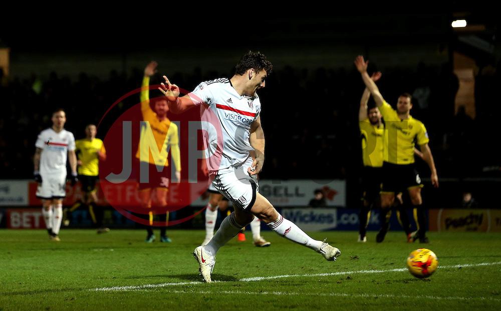 Chris Martin of Fulham scores a goal but it is disallowed for offside - Mandatory by-line: Robbie Stephenson/JMP - 01/02/2017 - FOOTBALL - Pirelli Stadium - Burton Upon Trent, England - Burton Albion v Fulham - Sky Bet Championship