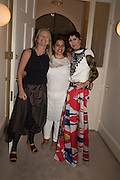 VANESSA BRANSON; REEM FADDA; VALERIA NAPOLEONE, Valeria and Gregorio Napoleone and Joe Scotland host a dinner at therir home in Kensington  in celebration of Sol  Calero's commission at Studio Voltaire.  London. 13 October 2015