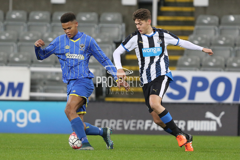 Toby Sibbick of AFC Wimbledon during the FA Youth Cup match between Newcastle United and AFC Wimbledon at St. James's Park, Newcastle, England on 6 January 2016. Photo by Stuart Butcher.