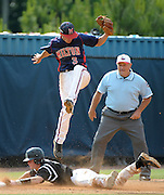 Milton third baseman Dalon Farkas (3) jumps high but misses the throw as Roswell's Drew Davis steals and goes on to score, tying the game at 1-1, in the fifth inning of their GHSA AAAAAA State Baseball Championship game, Monday, May 27, 2013, in Milton, Ga.   David Tulis/AJC Special
