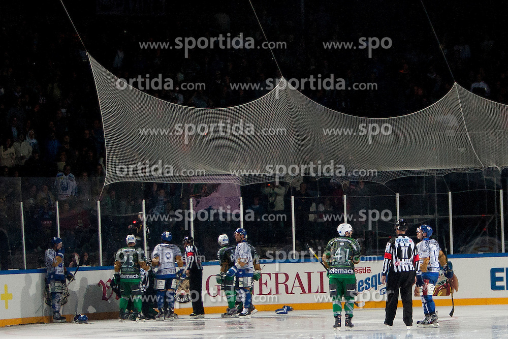 14.09.2012. Pula Arena, Pula, CRO, EBEL, KHL Medvescak Zagreb vs HDD Telemach Olimpija Ljubljana, 03. Runde, in picture players during the Erste Bank Icehockey League 3rd Round match between KHL Medvescak Zagreb and HDD Telemach Olimpija Ljubljana at the Pula Arena, Pula, Croatia on 2012/09/14. (Photo By Urban Urbanc / Sportida)