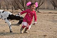 Mongolia. Children fashion , in a family, in a ger camp near the village of Gatchurt.  Ulan Baatar ULN - Mongolia   Deux par Deux collection / Mode enfant dans une famille , dans un campement de yourtes, pres de Gatchurt  Oulan Bator - Mongolie  / 01