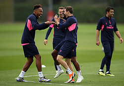 Arsenal's Pierre-Emerick Aubameyang (left), Alexandre Lacazette (centre) and Stephan Lichtsteiner during the training session at London Colney, Hertfordshire.