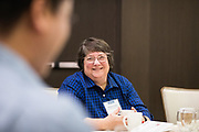 Sarah Lyn Torres socializes at the Silicon Valley Business Journal's Deisgn Thinking Lab at the Four Seasons Hotel in East Palo Alto, California, on November 15, 2018. (Stan Olszewski for Silicon Valley Business Journal)