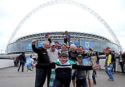 Plymouth Argyle pose for a picture at Wembley but are photobombed by AFC Wimbledon - Mandatory by-line: Robbie Stephenson/JMP - 30/05/2016 - FOOTBALL - Wembley Stadium - London, England - AFC Wimbledon v Plymouth Argyle - Sky Bet League Two Play-off Final