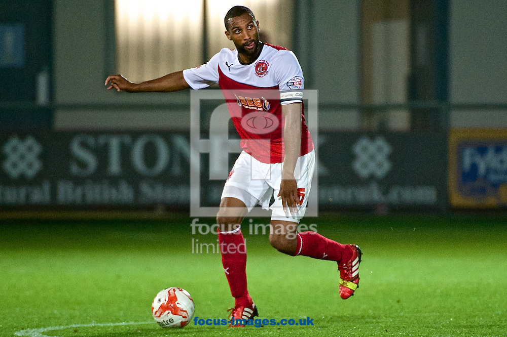 Nathan Pond of Fleetwood Town during the Sky Bet League 1 match at the Highbury Stadium, Fleetwood<br /> Picture by Ian Wadkins/Focus Images Ltd +44 7877 568959<br /> 17/09/2014