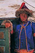 Buryat Woman in winter dress<br /> Eastern Steppe<br /> Mongolia