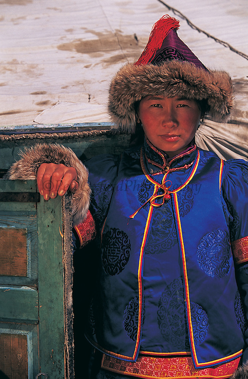Buryat Woman in winter dress<br /> Eastern Steppe<br /> Mongolia