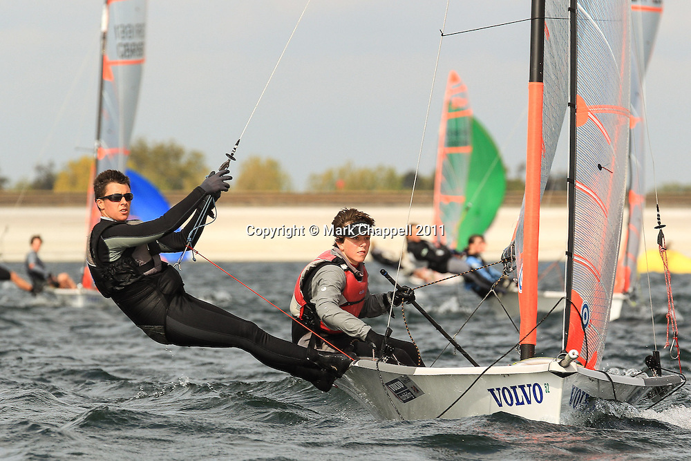 49er class  National sailing competition at Datchet Water. Sunday 25  September  2011.  London, UK.<br /> <br /> Photo Credit: Mark Chappell<br /> <br /> &copy; Mark Chappell 2011. <br /> All rights reserved, see instructions.