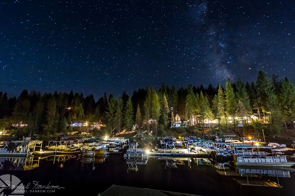 Starry evening at Pine Mountain Lake, near Groveland, California, on Highway 120