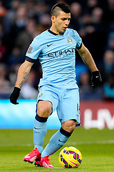 Manchester City's Sergio Aguero scores the opening goal from the penalty spot - Photo mandatory by-line: Matt McNulty/JMP - Mobile: 07966 386802 - 21/02/2015 - SPORT - Football - Manchester - Etihad Stadium - Manchester City v Newcastle United - Barclays Premier League