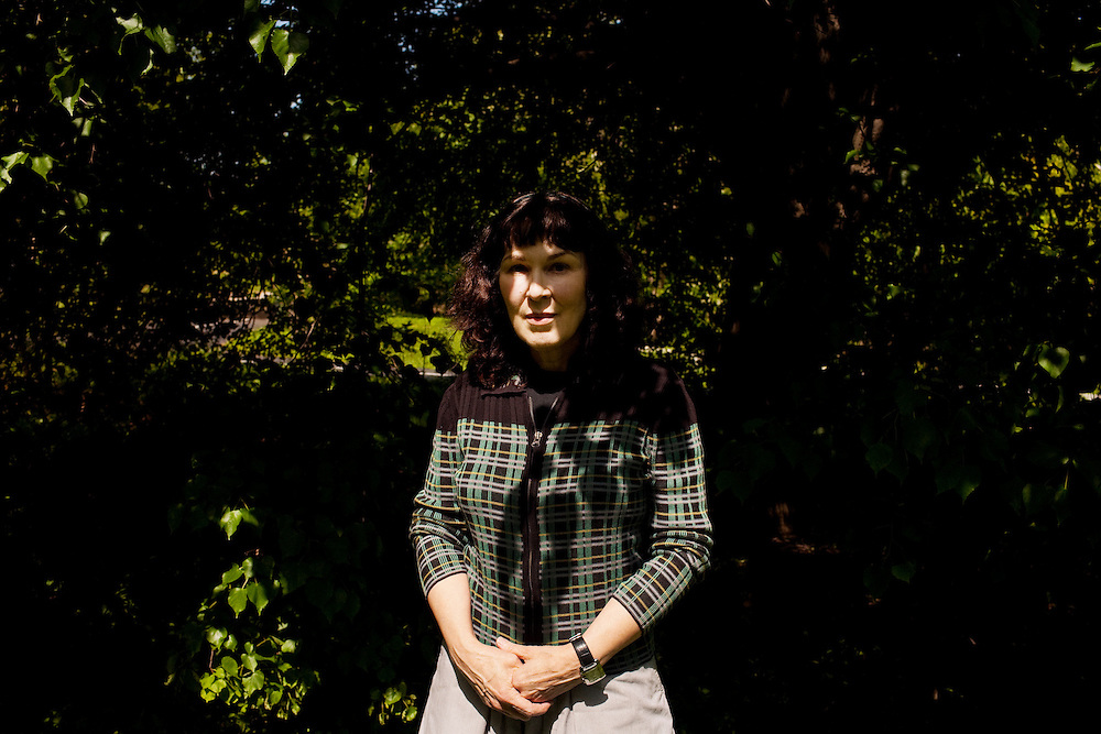 """Poet Mary Jo Bang in a park near her apartment in St. Louis, Missouri on May 12, 2008 shortly after the publication of """"Elegy"""" a collection of poems dedicated to Mary Jo's son, Michael, who died tragically in 2004. Originally photographed for Newsweek."""