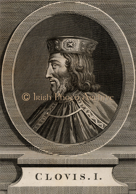 Clovis or Chlodwig (465-511) Merovingian ruler of the Franks from 481. Copperplate engraving.