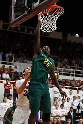 January 27, 2011; Stanford, CA, USA;  Oregon Ducks forward Jeremy Jacob (23) shoots past Stanford Cardinal forward Dwight Powell (33) during the first half at Maples Pavilion.