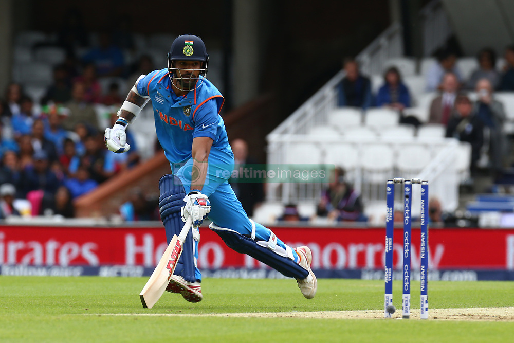 June 8, 2017 - London, United Kingdom - Shikhar Dhawan of India.during the ICC Champions Trophy match Group B between India and Sri Lanka at The Oval in London on June 08, 2017  (Credit Image: © Kieran Galvin/NurPhoto via ZUMA Press)