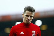 Middlesbrough midfielder Grant Leadbitter (7)  warming up ahead of the EFL Sky Bet Championship match between Norwich City and Middlesbrough at Carrow Road, Norwich, England on 3 February 2018. Picture by Phil Chaplin.
