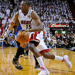 Jun 17, 2012; Miam, FL, USA; Miami Heat point guard Mario Chalmers (15) against the Oklahoma City Thunder during the fourth quarter in game three in the 2012 NBA Finals at the American Airlines Arena. Miami won 91-85. Mandatory Credit: Derick E. Hingle-US PRESSWIRE