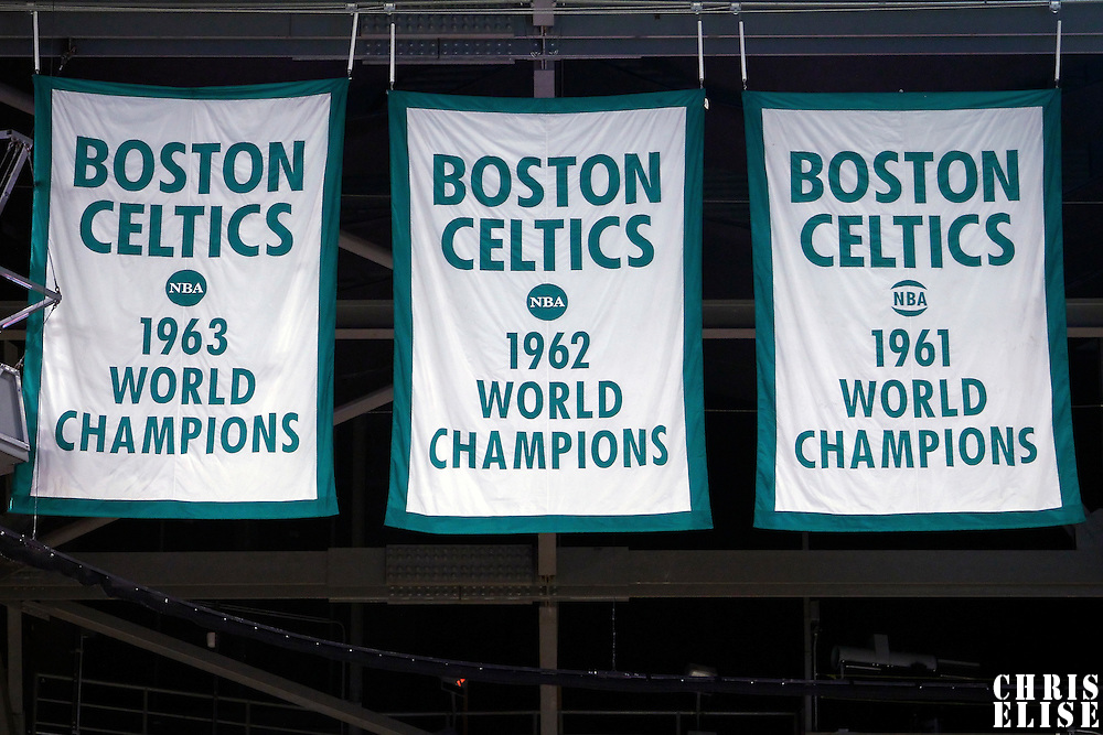 06 March 2012: Three Champions banner hang in the TD Garden during the Boston Celtics 97-92 (OT) victory over the Houston Rockets at the TD Garden, Boston, Massachusetts, USA.