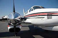 Close-up of the starboard spinner, prop, and air intake on a Beech King Air