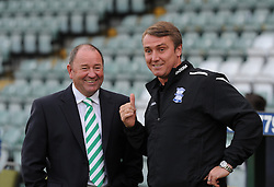 Yeovil Town Manager, Gary Johnson and Birmingham City Manager, Lee Clark share a joke before the game.  - Photo mandatory by-line: Alex James/JMP - Tel: Mobile: 07966 386802 25/08/2013 - SPORT - FOOTBALL - Cardiff City Stadium - Cardiff -  Cardiff City V Manchester City - Barclays Premier League
