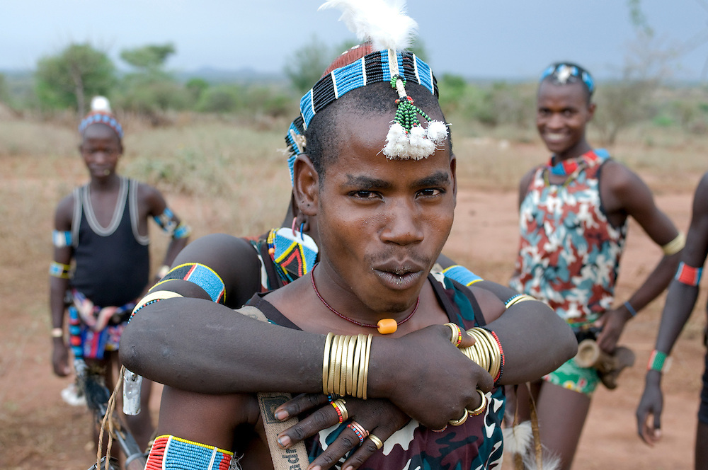 Hamer tribal warrior at the jumping of the bull ceremony,Ethiopia,Africa